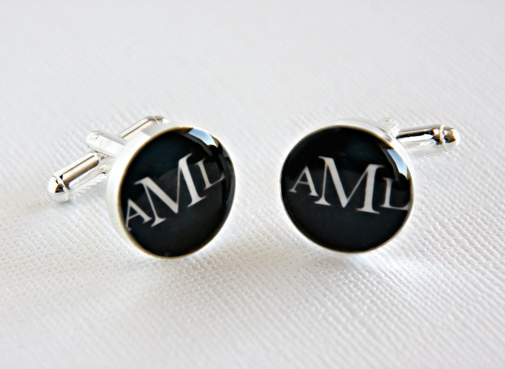 Personalized Wedding Cufflinks with Three Initials - Perfect for the Groom Graduate or Fathers Day
