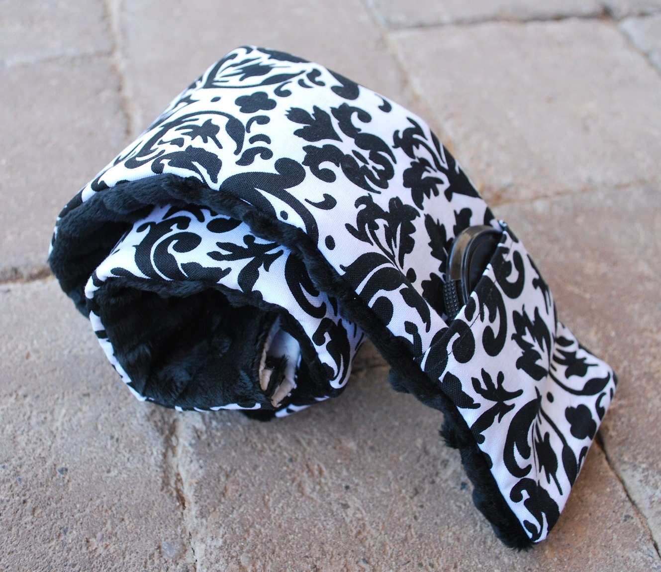 Padded Camera Strap Cover in Black and White Damask with Black Minky Dimple Dots