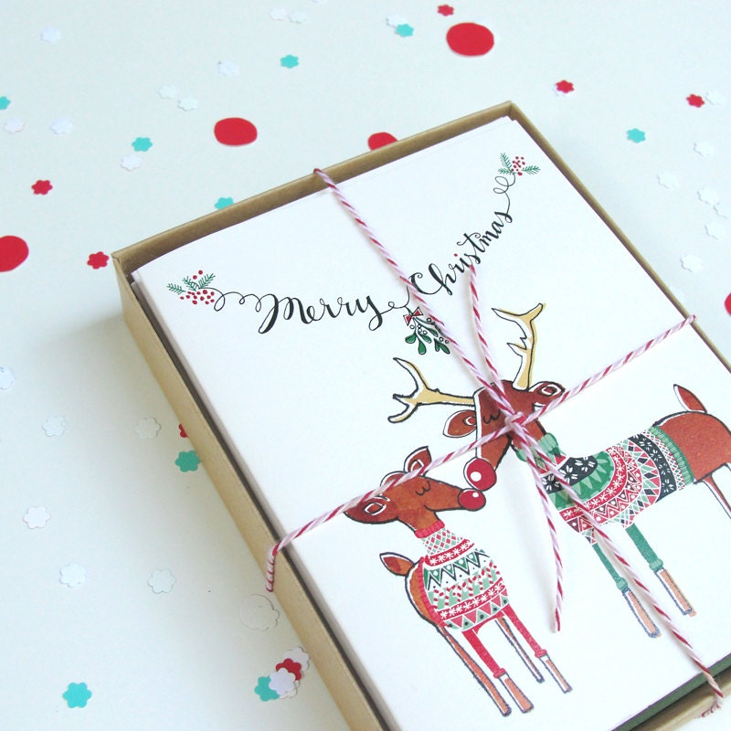 Couple's Newlywed Christmas Card, Ugly Sweater Party Card - anopensketchbook