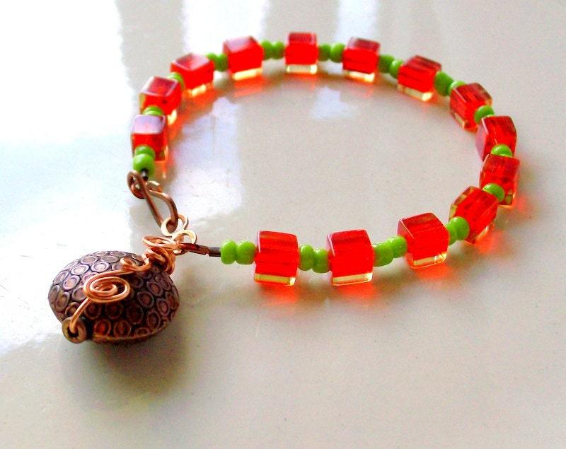 Autumn Orange & Green Copper Wire Wrapped Bracelet -