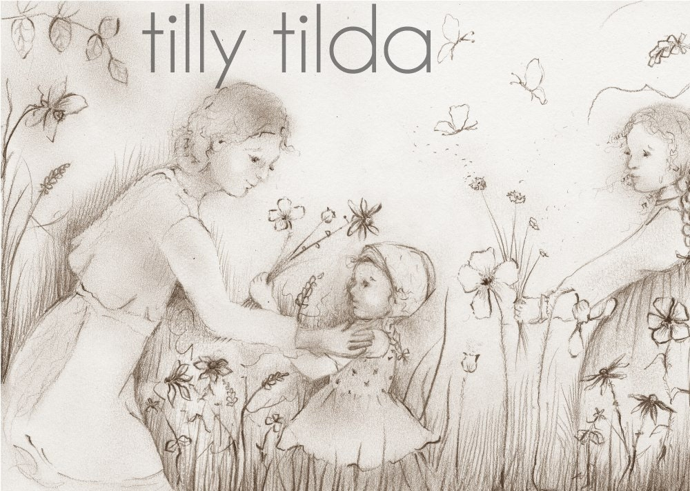 nursery art - mother and child - illustration - pencil drawing - sepia - waldorf art -  tasha tudor - elsa beskow inspired - tillytilda