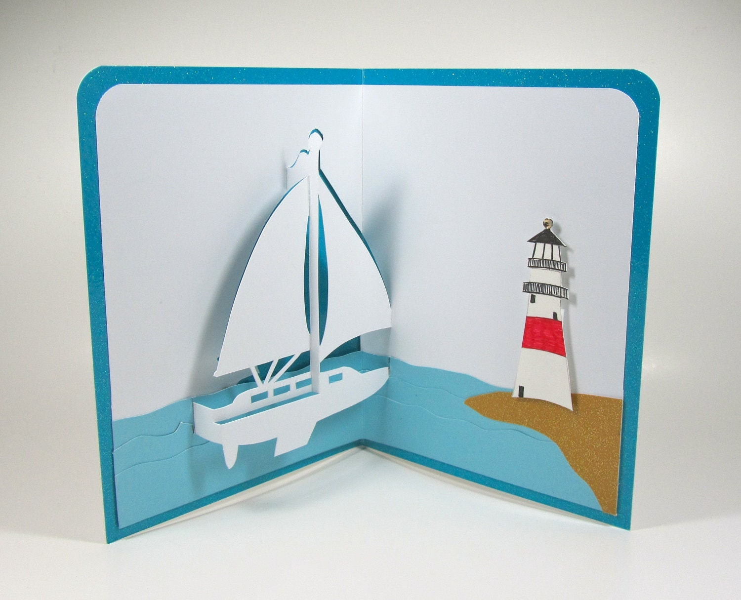 SAILBOAT and LIGHTHOUSE Nautical Pop-Up 3D Card Home by BoldFolds