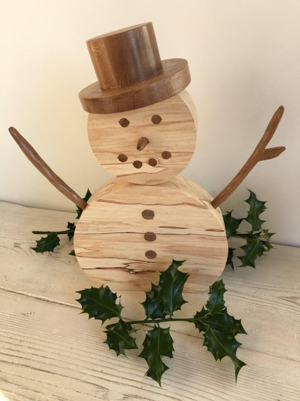 large wooden snowman decoration christmas snowman ornament snowman xmas decoration natural handmade unique