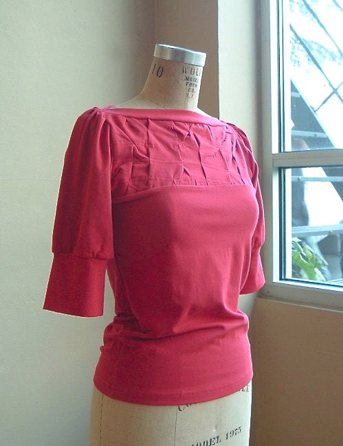 Jersey Top- Poppy Red Cotton Jersey with folded detail, puff sleeves, modern chic- made to order - outofline