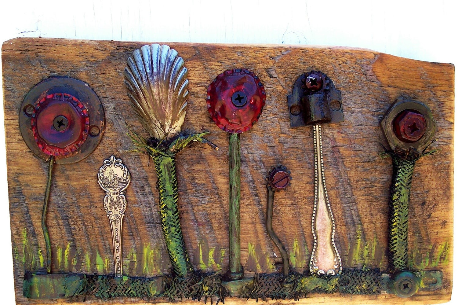 Reclaimed art assemblage found objects Salvage art flowers