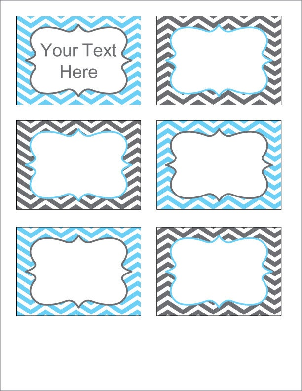 ... and Blue Chevron Labels - Printable PDF - EDITABLE - Instant Download