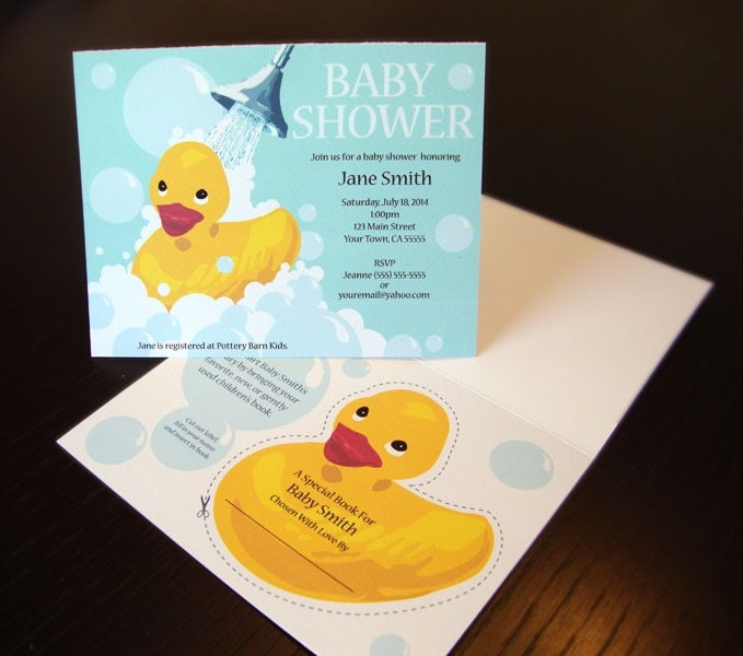 items similar to rubber ducky baby shower invitation with unique book