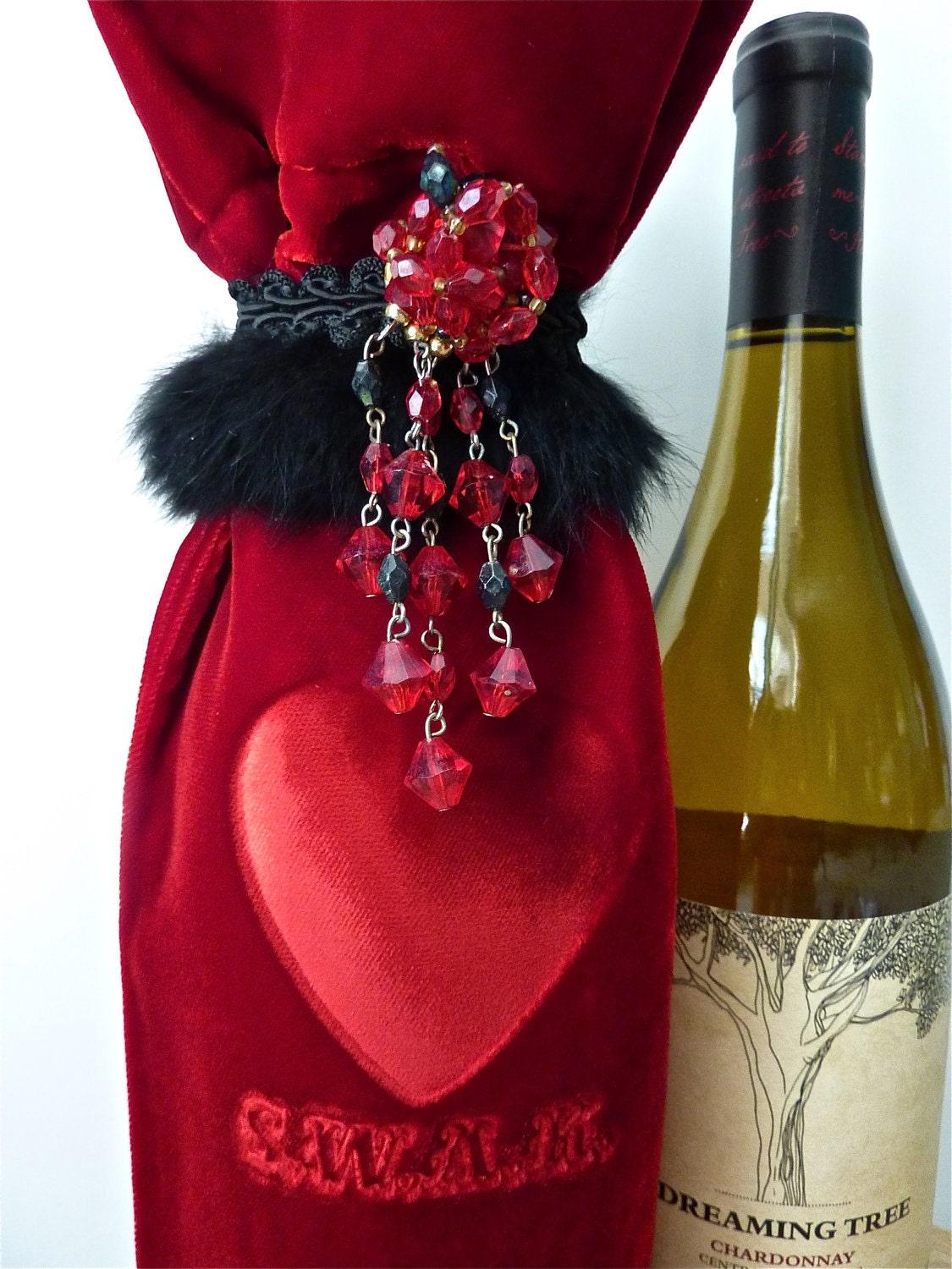 Velvet Wine Bag Valentine S.W.A.K. Red Unisex Custom Embellished Embossed by Velvet manna for Etsy