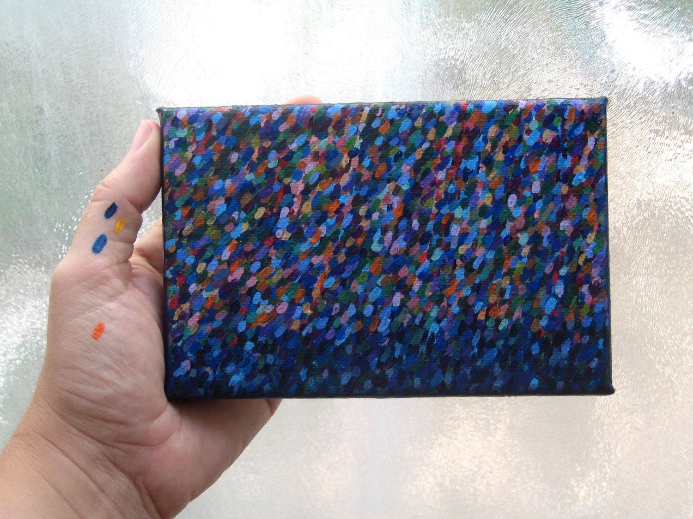 Acrylic painting Rain over sea original artwork nature art blue storm ocean water drops small canvas wall decor - TUKON