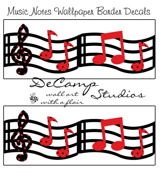 Music Wallpaper Border Wall Art Decals Red Black By