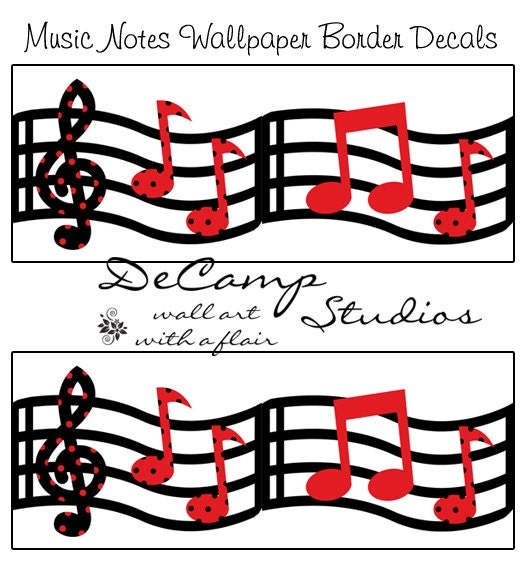 Musical Wallpaper Borders: MUSIC WALLPAPER BORDER Wall Art Decals Red Black By