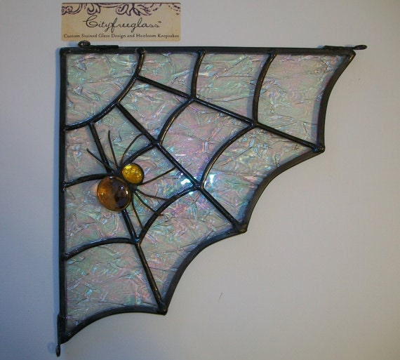 Stained Glass Spider Web Corner Transom Halloween Decoration (left ...