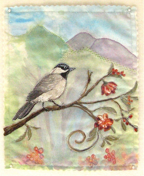 Bird Painting Fabric Collage Art - MGgallery