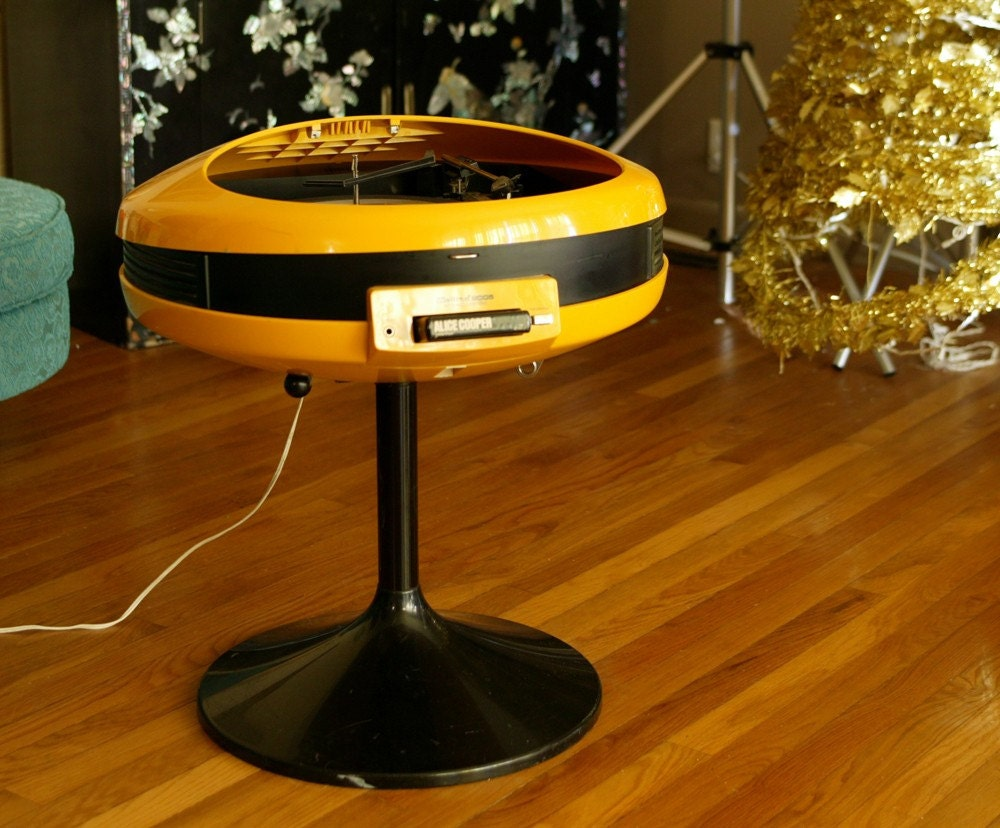 Rare Yellow Record Player And 8 Track Player 70s By