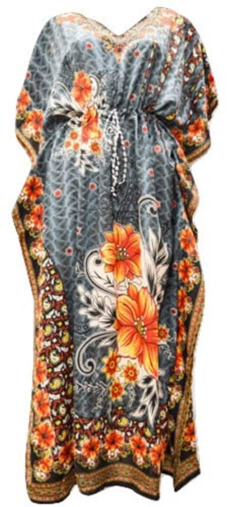 Plus Size Paisley Floral SummerFestival Print Drawstring Batwing Sleeve Kaftan Grey