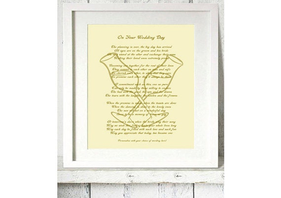 Wedding Day Gift Poem : On Your Wedding Day Personalised Poetry Gift - 10x12