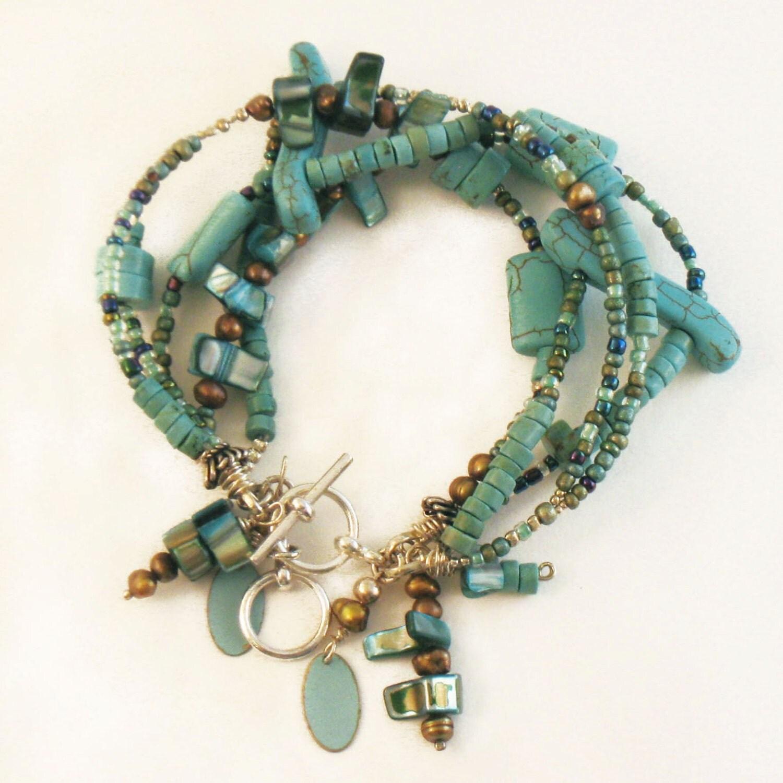 beaded bracelet boho bracelet turquoise by lisagabeldesign
