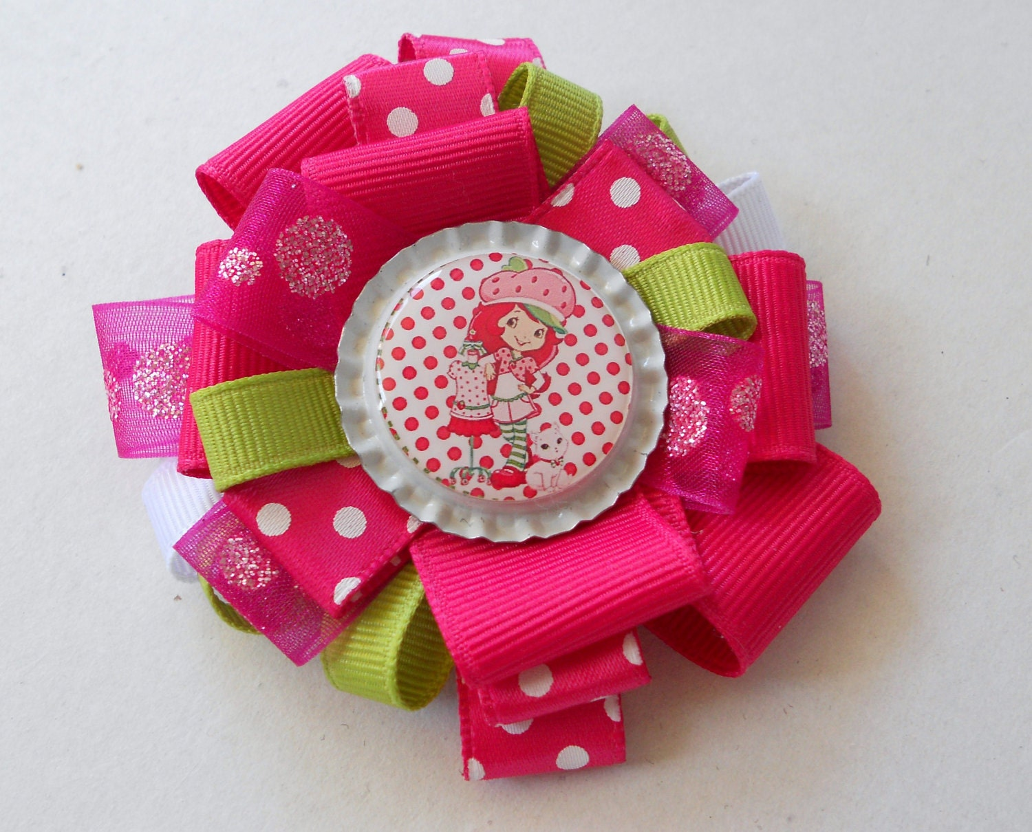 Strawberry Shortie 3 inch pinwheel bow