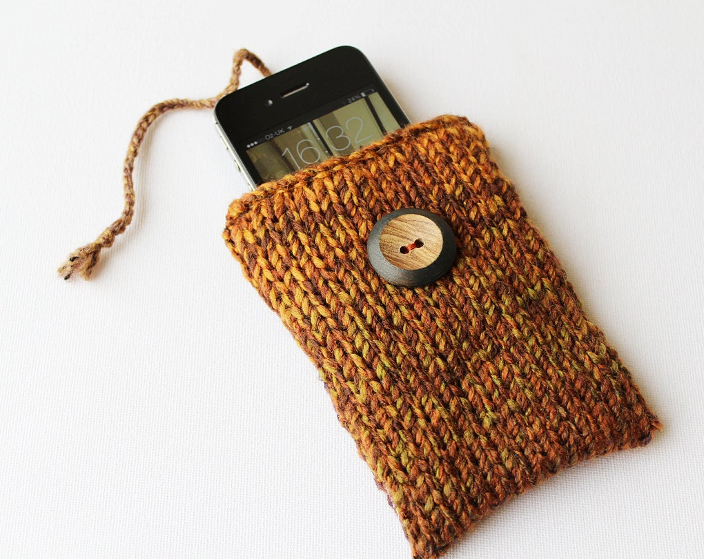 Hazelnut Brown iPhone Sock or iPod Touch Case for iPhone 5 iPhone 4 or iPod Touch