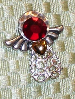 Angel Brooch with Ruby Swarovski crystal