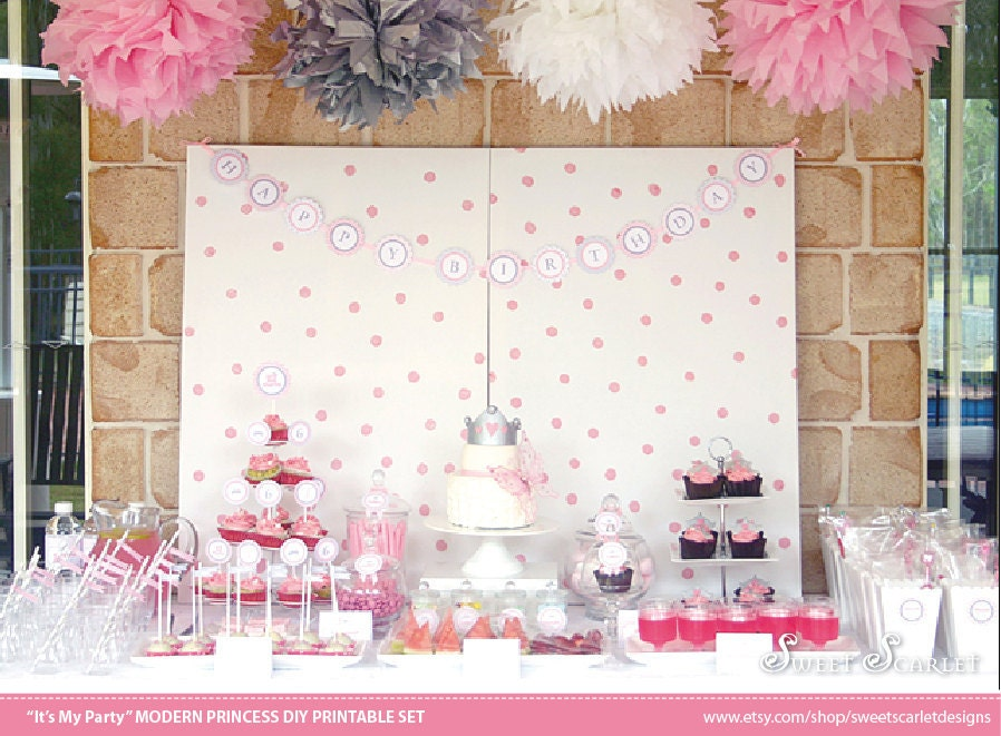 PRINCESS Party Printable Set - Invitations, Cupcake Toppers, Water Bottle Labels & More