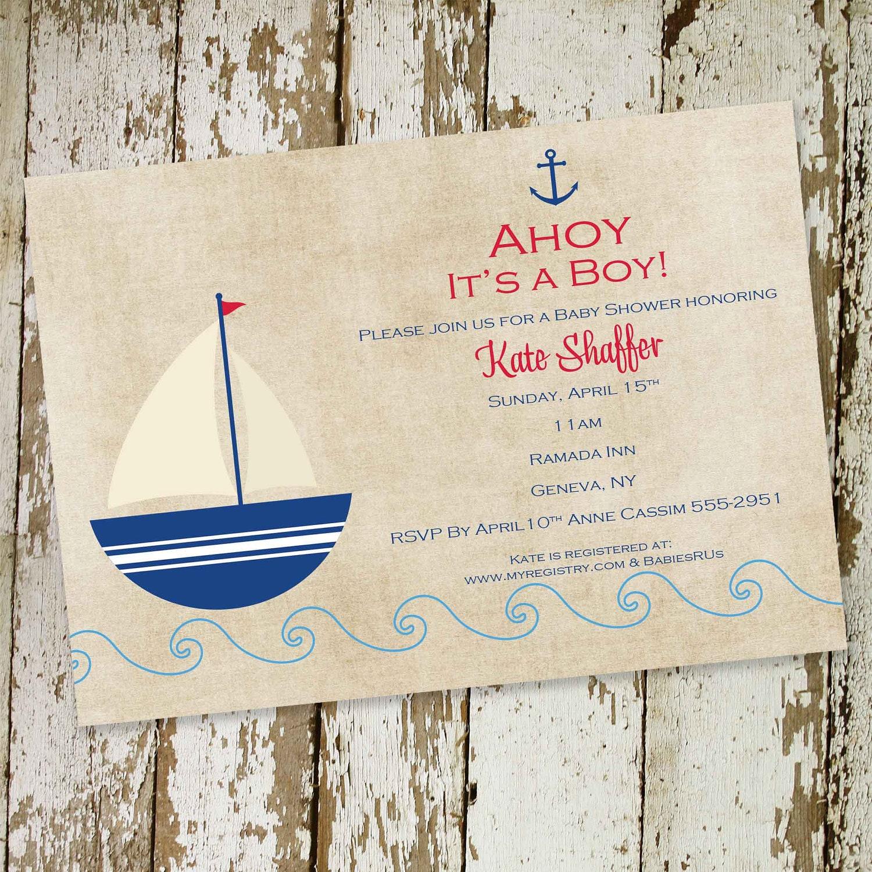 Baby Boy Shower Invitation Nautical Sail Boat By