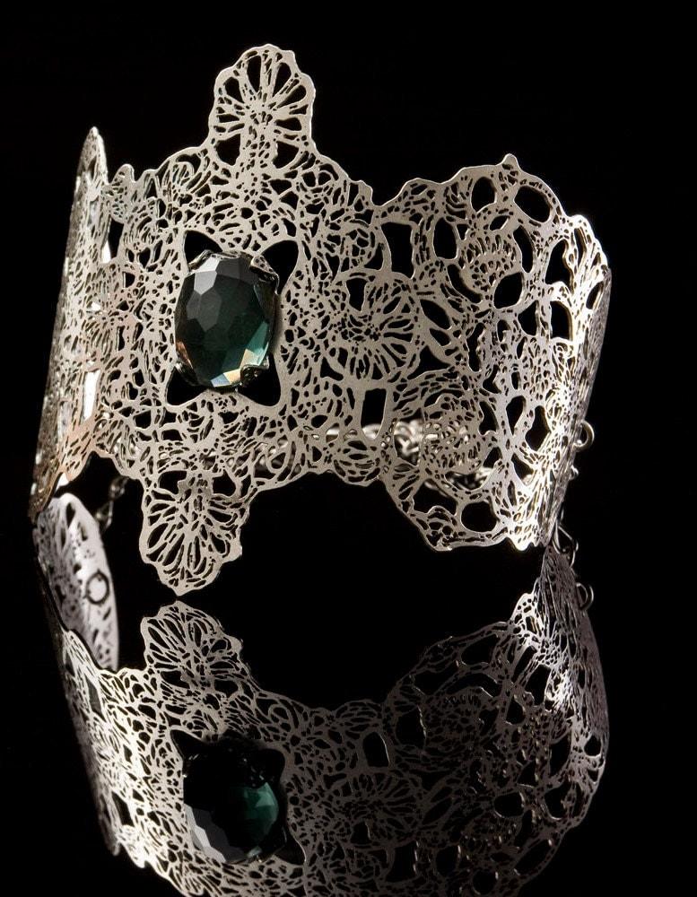 Metal Lace cuff Bracelet, blue stone