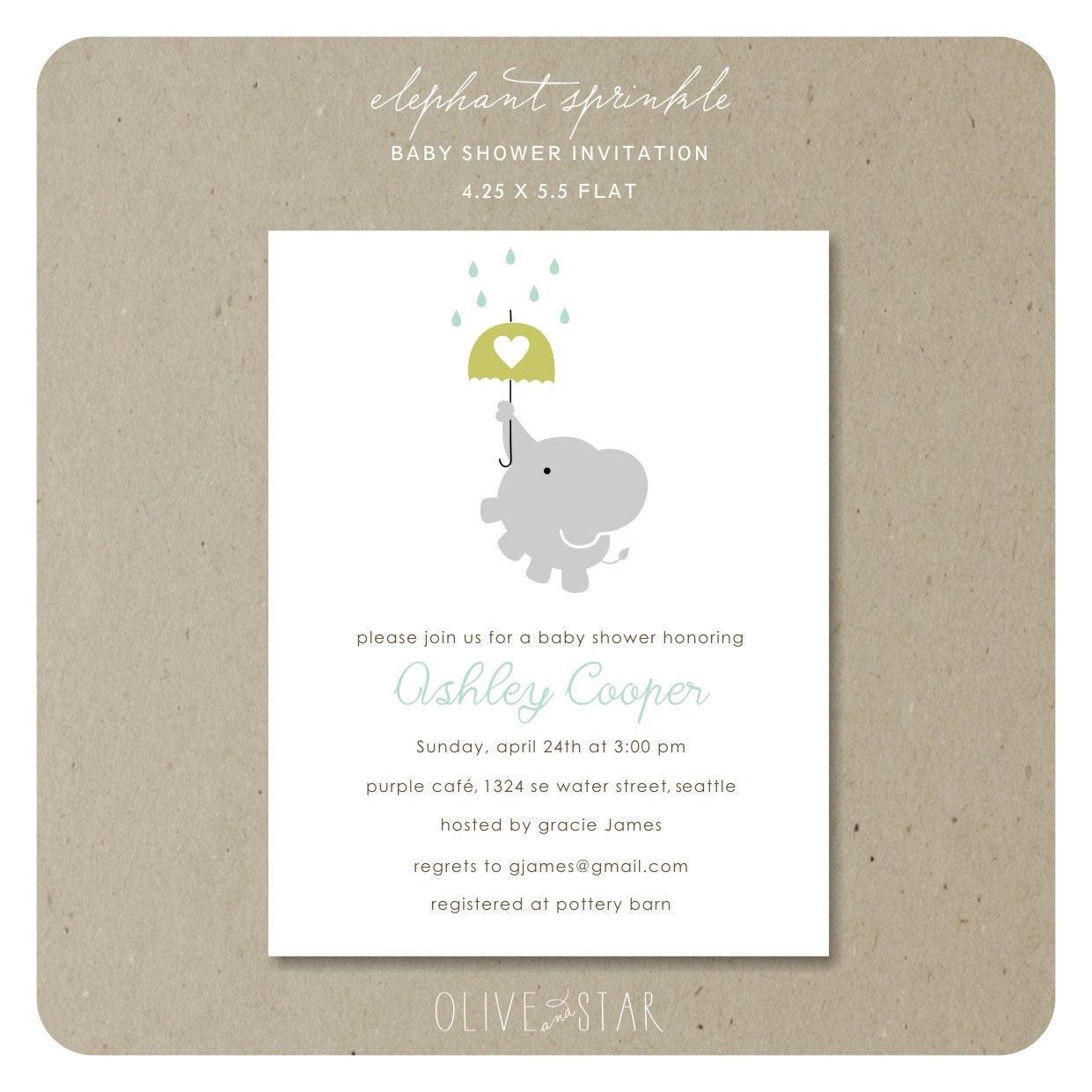 elephant sprinkle baby shower invitation set by oliveandstar