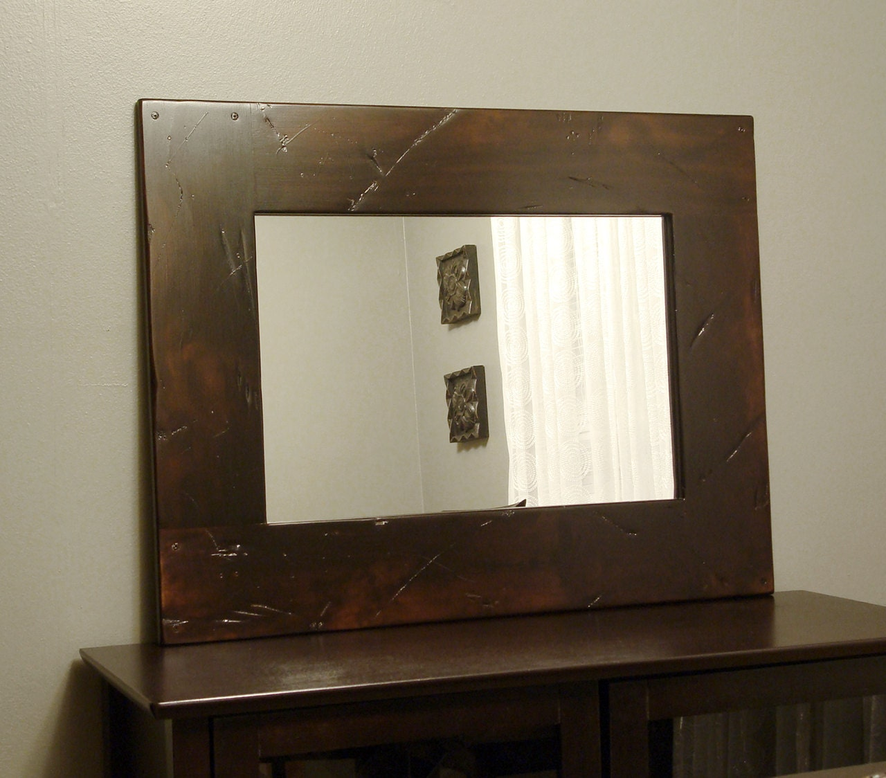 Rustic Wood Framed Mirror Distressed Amber Brown by