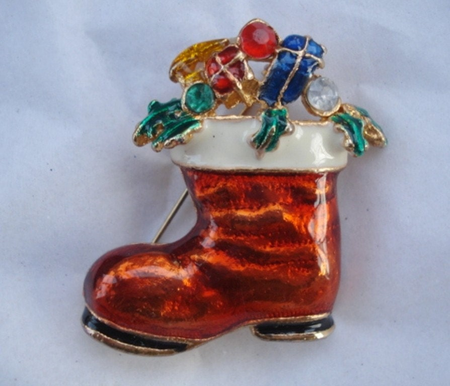 Vintage Christmas Stocking Brooch - Gold and Enamel with Rhinestones