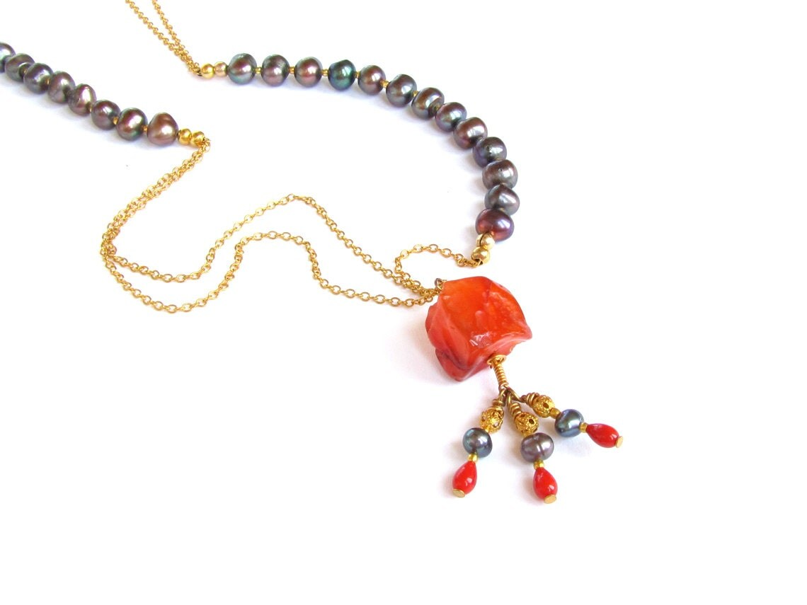 Asymmetrical Autumn Necklace : Peacock Pearl Long Necklace, Red Coral, Carnelian, Fall Fashion, Fall Jewelry, Autumn Jewelry, Orange Black - NaturalGorgeous