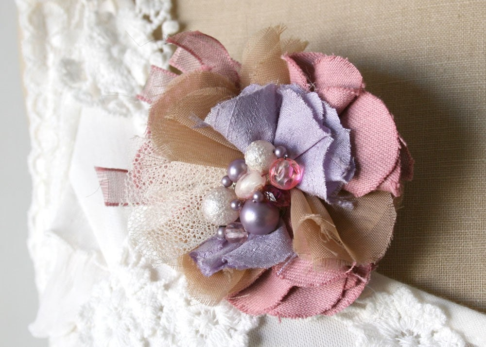 Romantic Pink and Lavender Flower Pin Corsage