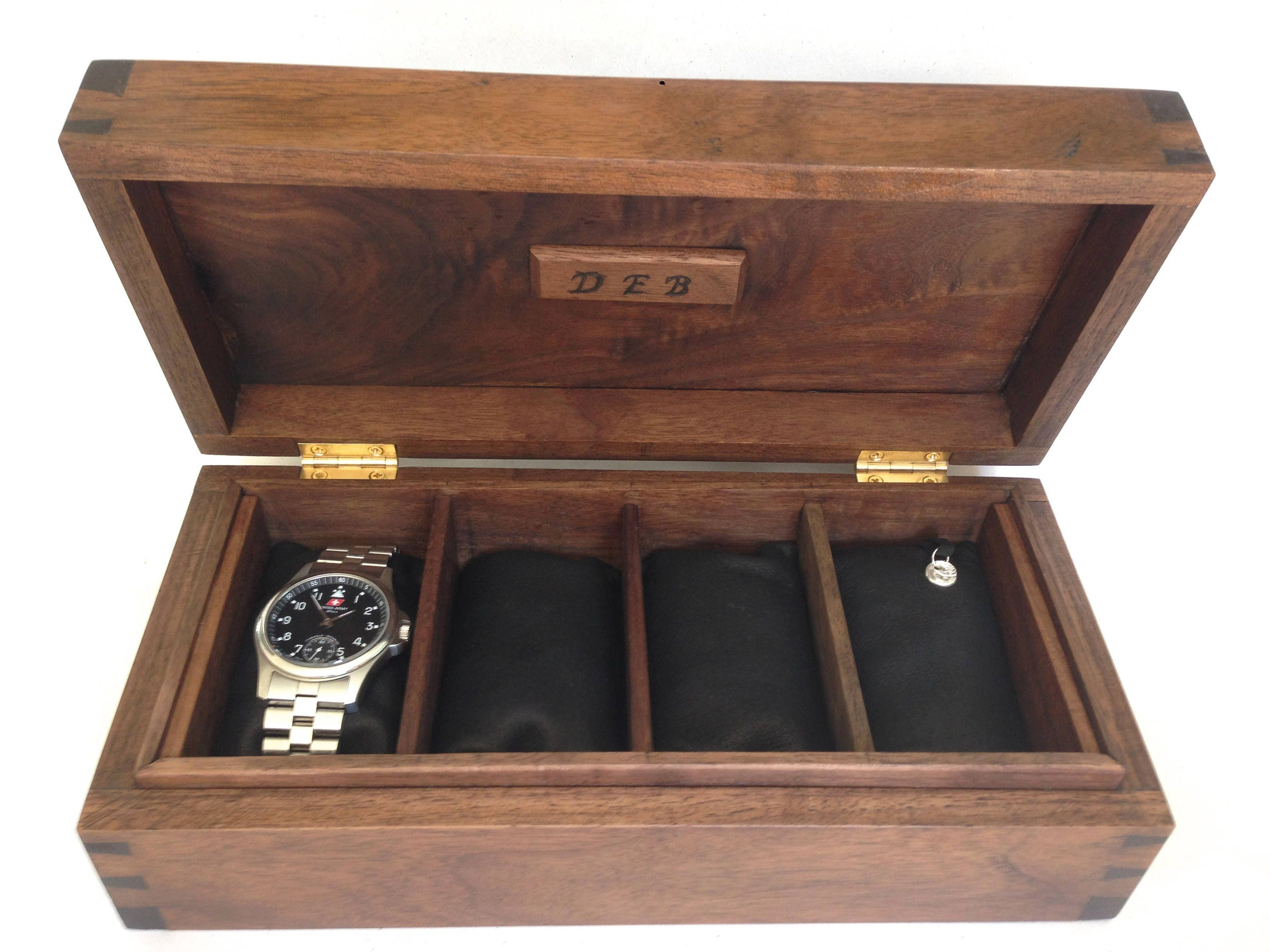 Digby A fine wooden box handmade in walnut contemporary. Watch box with leather pillows can be customised in wood and interior.