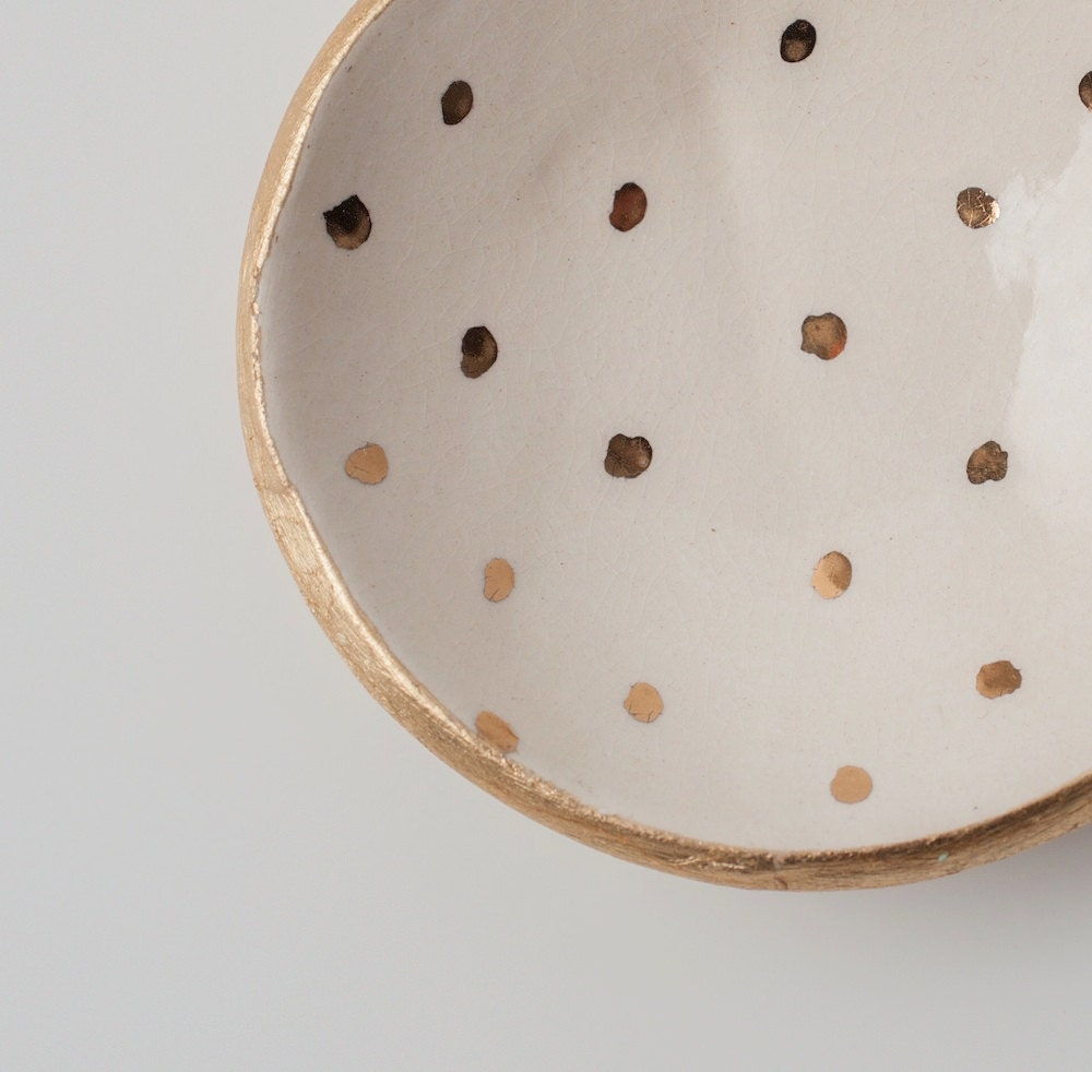 White and Gold Dot Dish - upintheairsomewhere