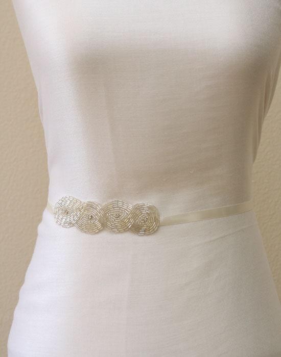 Clear beaded bridal sash, satin tie back sash, bridesmaids sashes