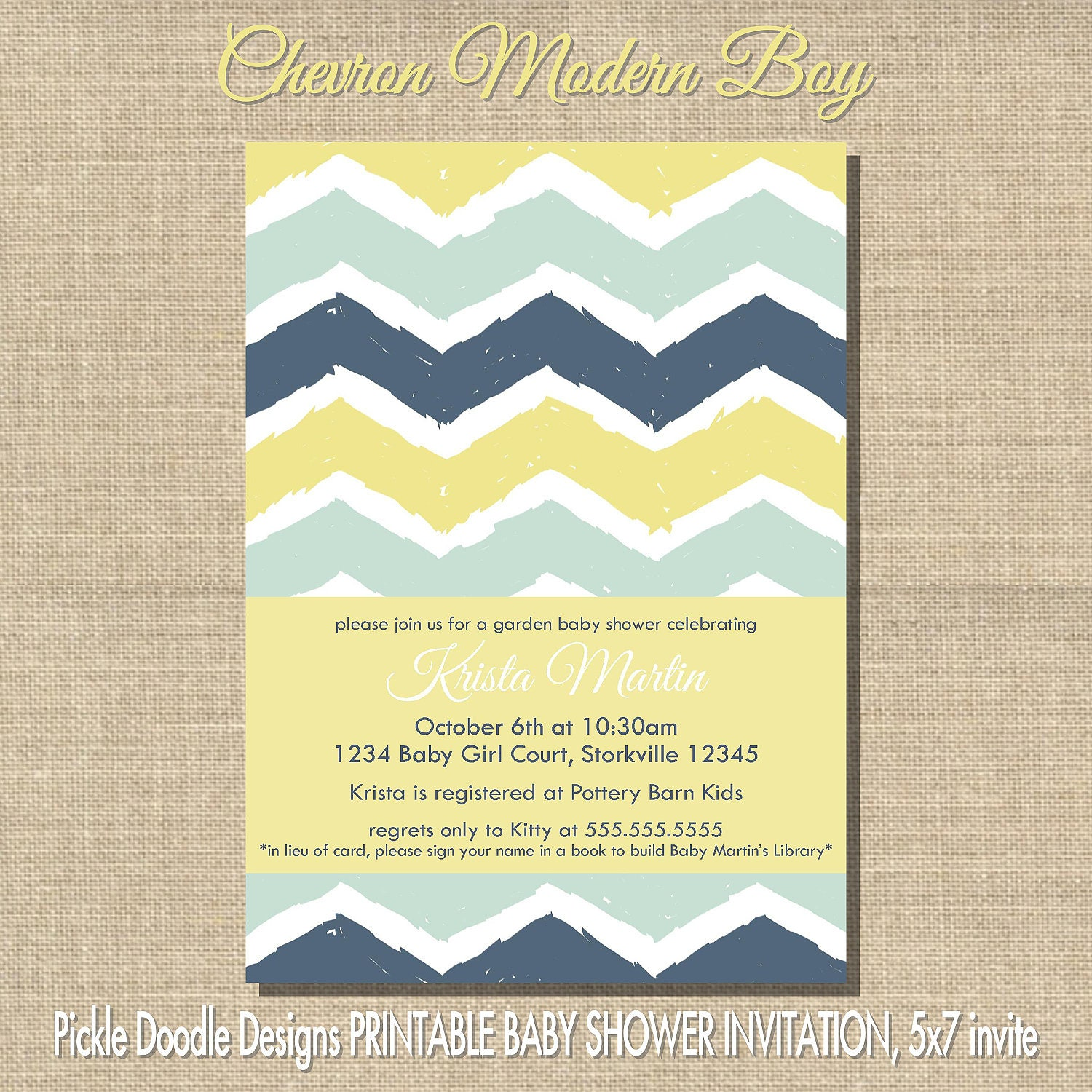 Modern Chevron Baby Boy Shower Invitation, Aqua & Navy 5x7 printable