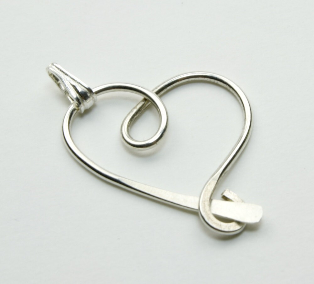 Hammered Heart Pendant Sterling Silver Freeform 18 Inch Chain - Nayali