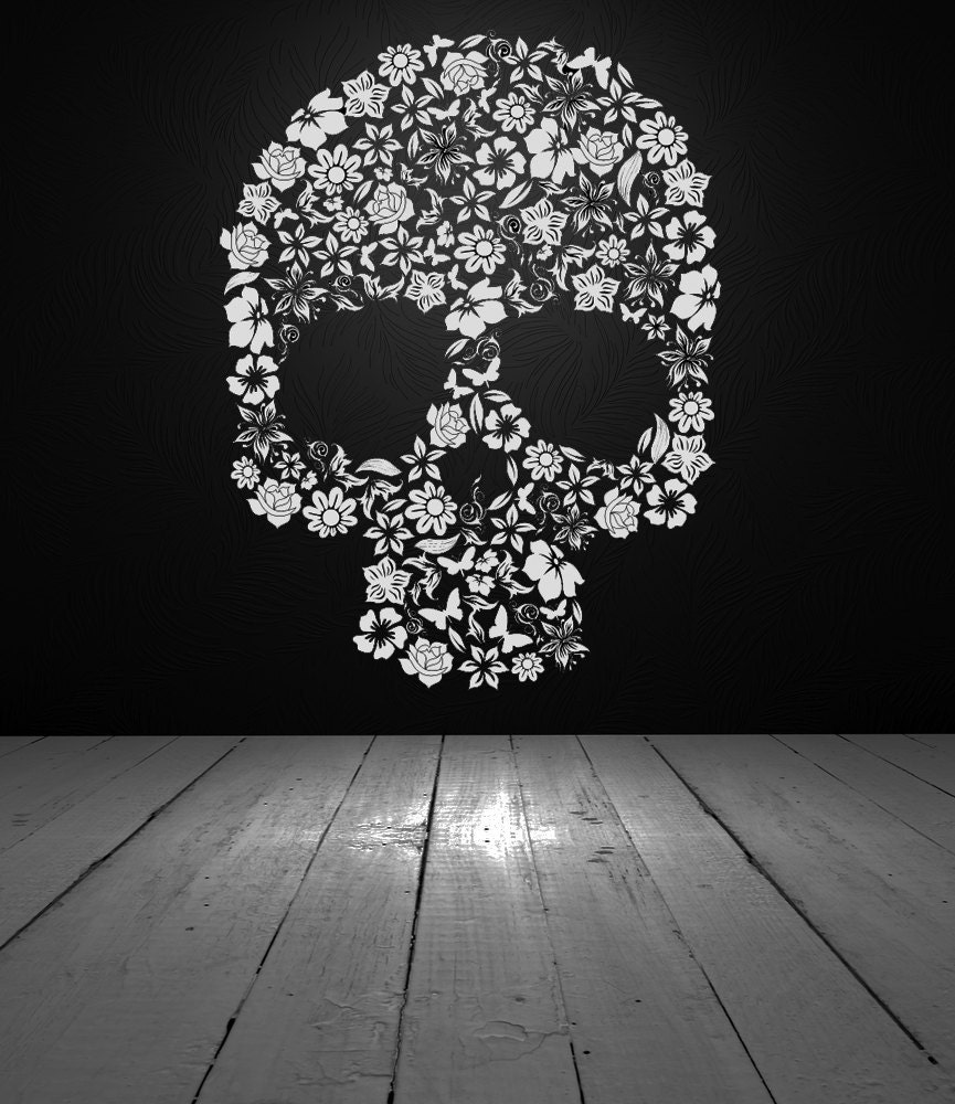 Skull of Flowers Vinyl Wall Decal Vinyl by VinylWallAccents