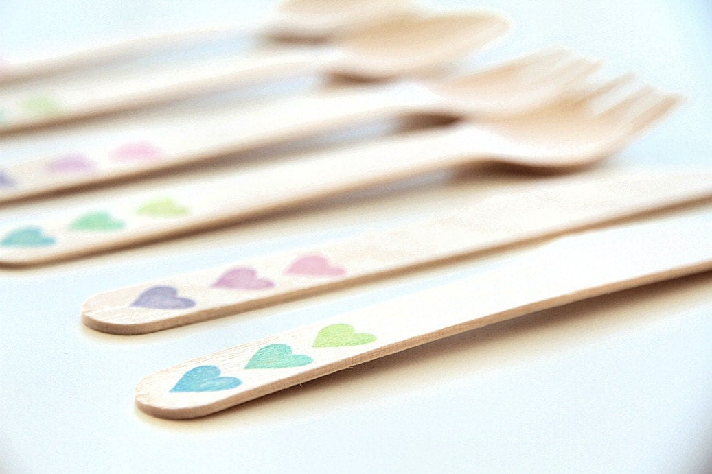 Disposable Ombre Wooden Cutlery - Radiant Gradient Heart Forks, Spoons or Knives - Gloriousmess