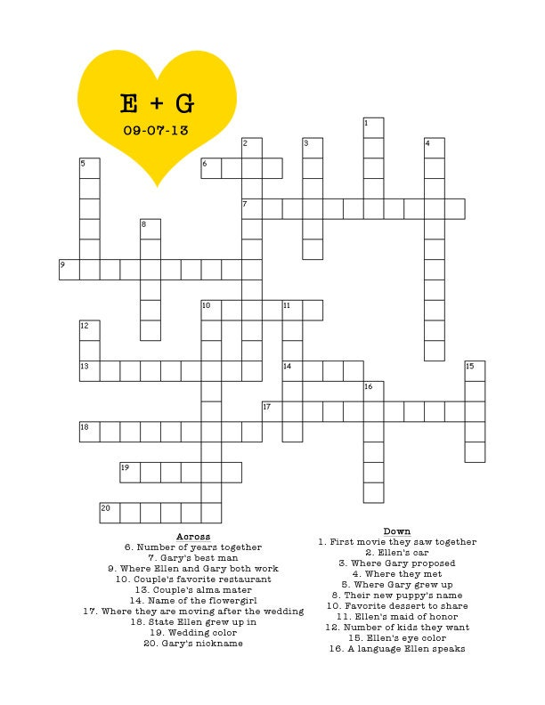 baby shower crossword puzzle