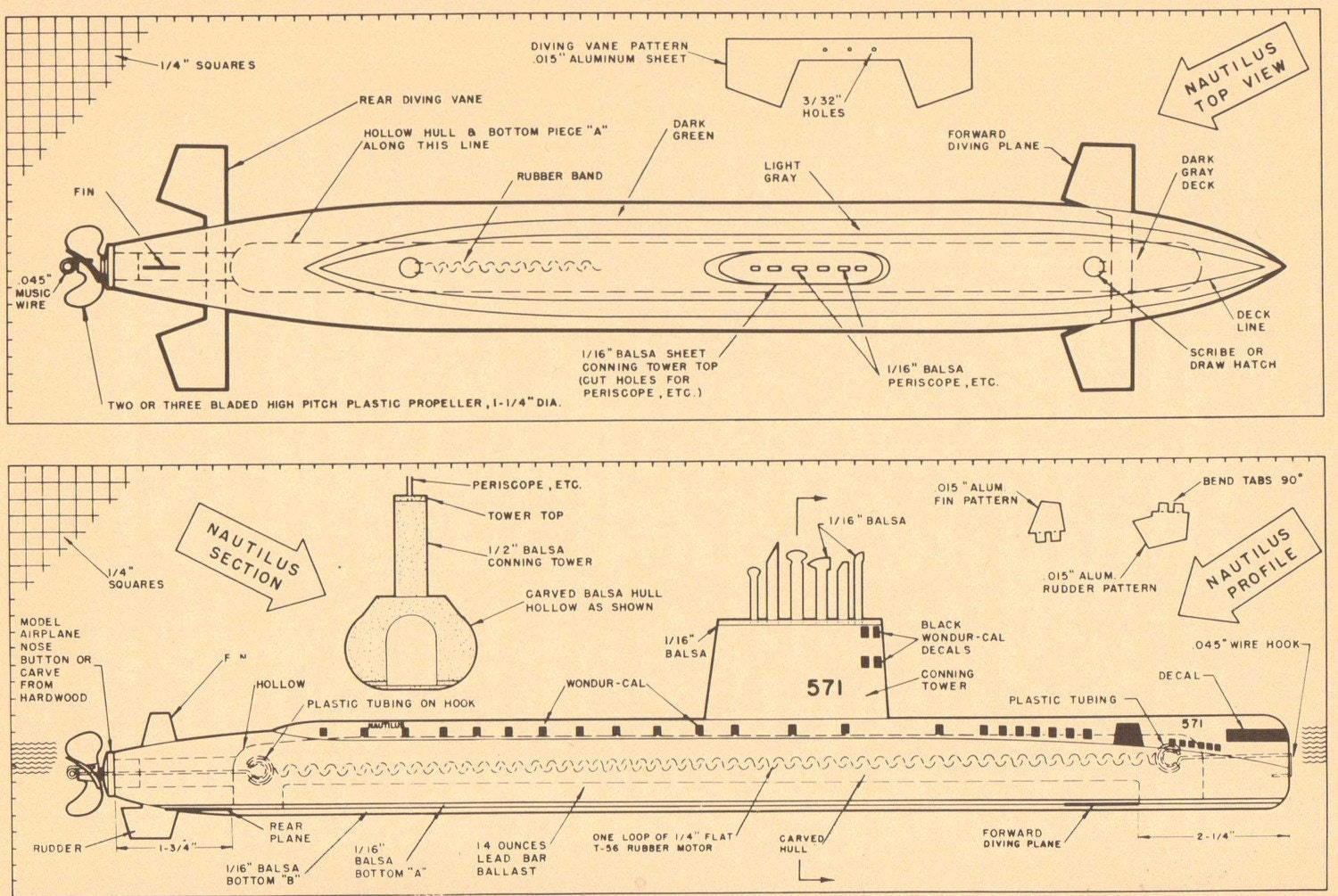 Diving Submarines. Vintage Model Boat Plans in by GraceArchives