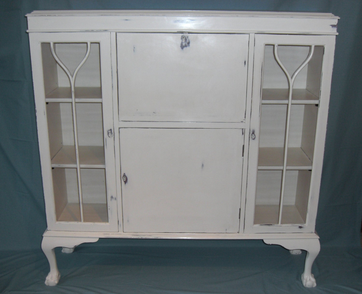 Presentation  display  writing cabinet in antique white shabby chic distressed COLLECTION ONLY