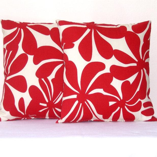 Cream Floral Throw Pillows : Red Cream Floral Pillow Covers Indoor Outdoor Throw by abellawear