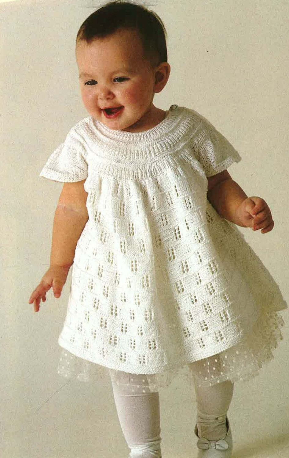 Knitting Patterns For Baby Fancy Dress : BabyLace Knitted Dress With Cap Sleeves 1980s by TimelessOne