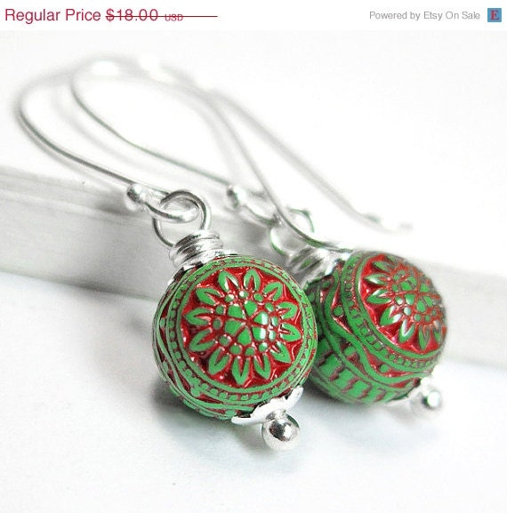 SALE- Bohemian Christmas Earrings, Sterling Silver Vintage Red and Green Drop Dangle Earrings, Lucite Bead Mod Christmas Jewelry - AnnaMJewelry