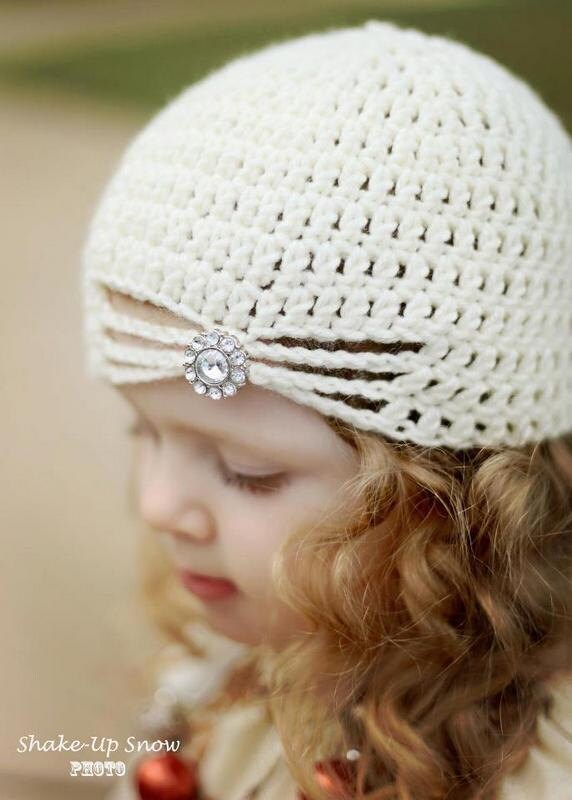 Flapper Hat with Jewel - Cream Crochet Vintage Style Hat Baby Children Adult Sizes