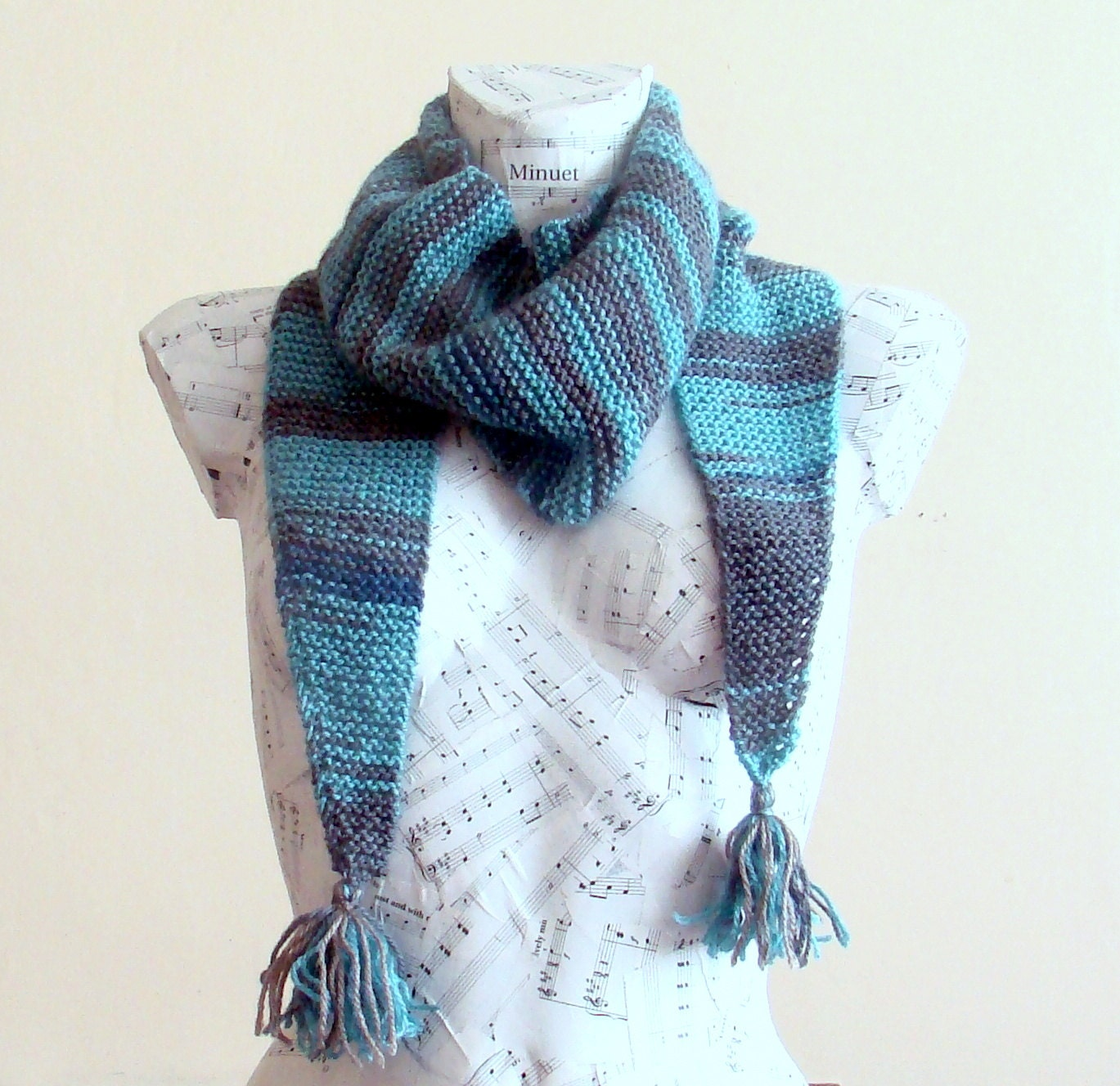 Hand knit blue gray baktus scarf hand knit scarf for sale hand knit scarves knitted scarf cowl scarf triangle scarf
