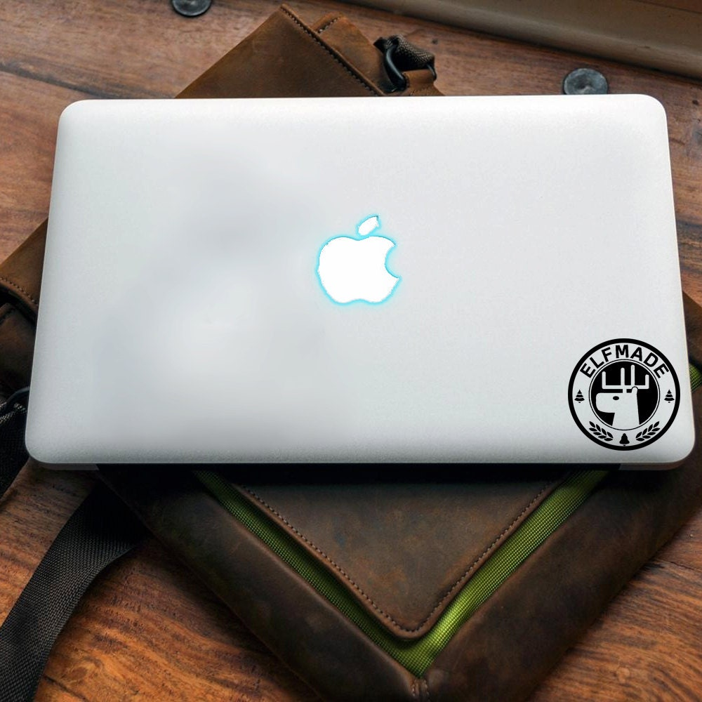 Elf Made Vinyl decal for MAC or PC sticker print perfect gift for any computer fan! Merry Christmas Gift Xmas Hat Apple (VS203)