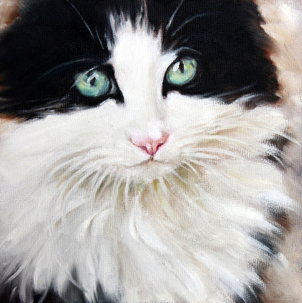 Items similar to cat oil painting canvas cat art tuxedo for Cat paintings on canvas