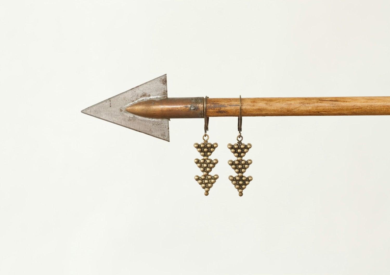 Little Arrows - Tribal Brass Arrow Drop Earrings by Prairieoats